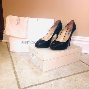 Jimmy Choo size 38 black peep toe heels